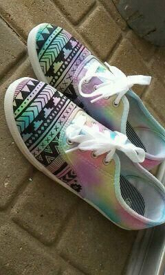 DYI Canvas Shoes. Tie-Dye the canvas shoes, take out the shoe laces. After the dye is dry, use a paint marker (found basically in any craft section or store) to draw a design. I would suggest spraying them with waterproof shoe spray to keep them from fading or smearing. So easy, so fun, and so many compliments. :)