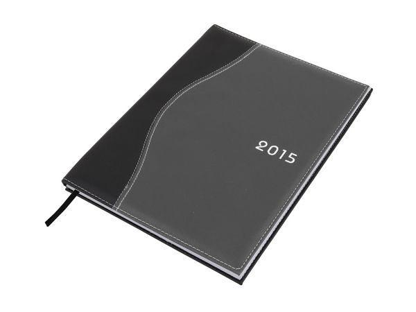 Wave Diary A4 Colour(s): Black-Grey Material: Koskin with white stitching Size: 14.5 (w) x 21 (l) - closed  Branding Methods: Silk Screening  (Default Method) , Debossing , Full Colour Print Additional Info: Daily Inspirational Quotes. Page-A-Day. Satin Bookmark