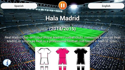 Hala Madrid, Support your club with the precious word of Anthem Real Madrid.<p>Real Madrid Club de Fútbol (Royal Madrid Football Club), commonly known as Real Madrid, or simply as Real, is a professional football club based in Madrid, Spain.<p>Founded in 1902 as Madrid Football Club, the team has traditionally worn a white home kit since. The word real is Spanish for royal and was bestowed to the club by King Alfonso XIII in 1920 together with the royal crown in the emblem. The team has…