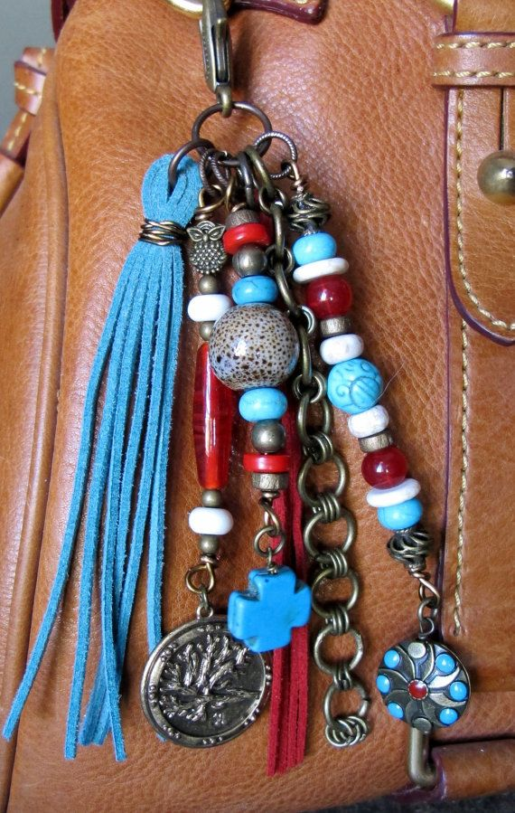 #ThePaintedCabeza ~ This handmade tassel charm can be used on your purse, backpack, zipper, wherever youd like to add some charm! Its made up of antiqued brass