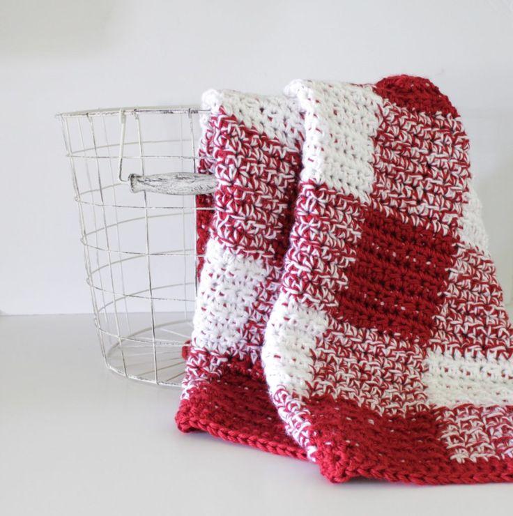 Crochet Red Gingham Blanket - Daisy Farm Crafts