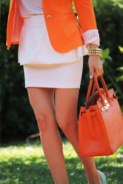peplum skirt + orange