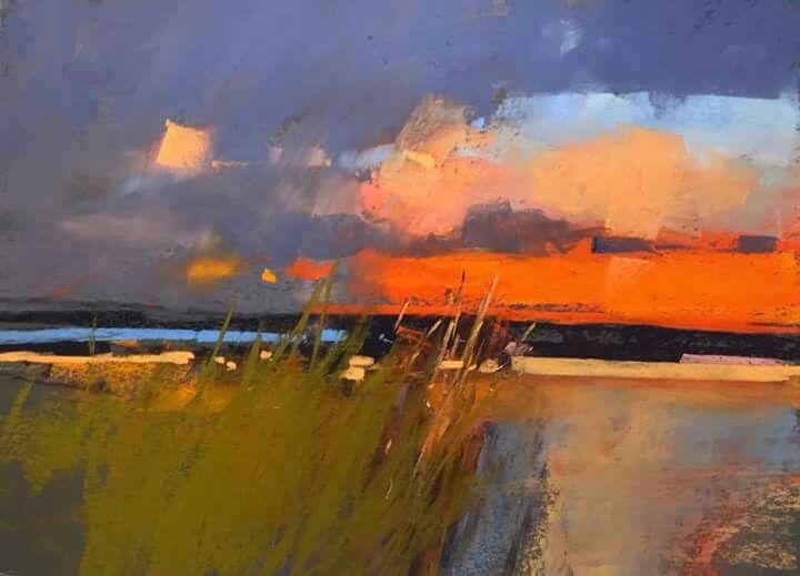 Impressionist Sunset Abstract Art Landscape Landscape Art