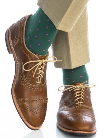 Dapper Classics Hunter Green with Pink Polka-Dot Linked Toe Fine Merino Wool Sock