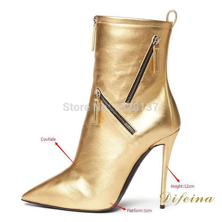 >> Click to Buy << Women Boots Solid Gold Pointed Toe Autumn Boots Zip Chains Thin High Heels Women Boots Genuine Leather Platform Shoes #Affiliate