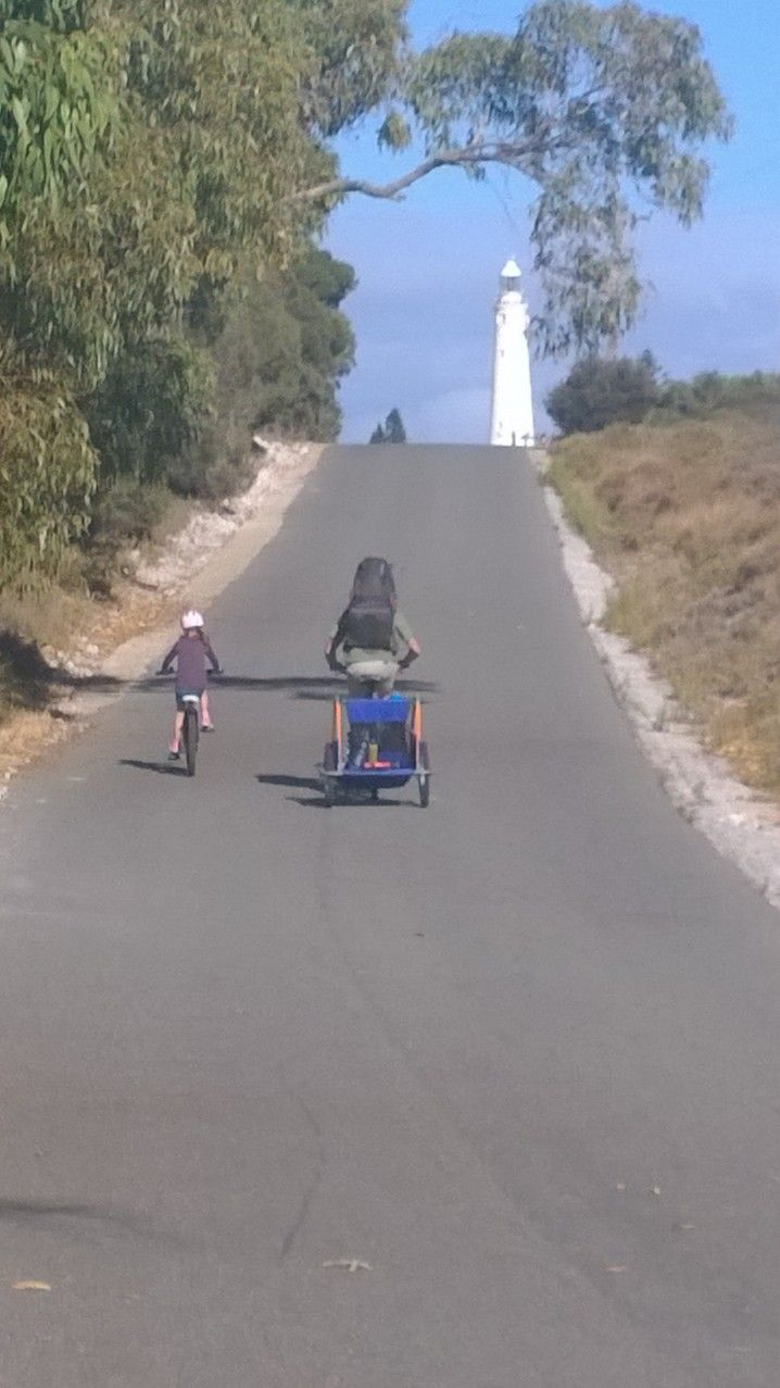 "Family bike ride to the Lighthouse on Rottnest Island. Rottnest is ""car free"" so bikes are a great way to explore."