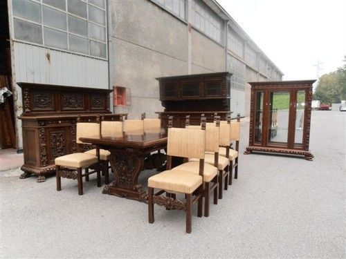 8 walnut original italian antique dining room set dining chairs 12it046d ebay