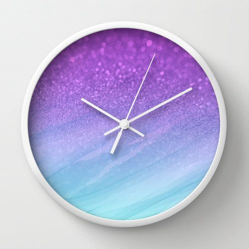 Wall Clock Ombre Glitter Watercolor Purple By