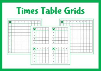 Improve times tables with these mixed times table grids.
