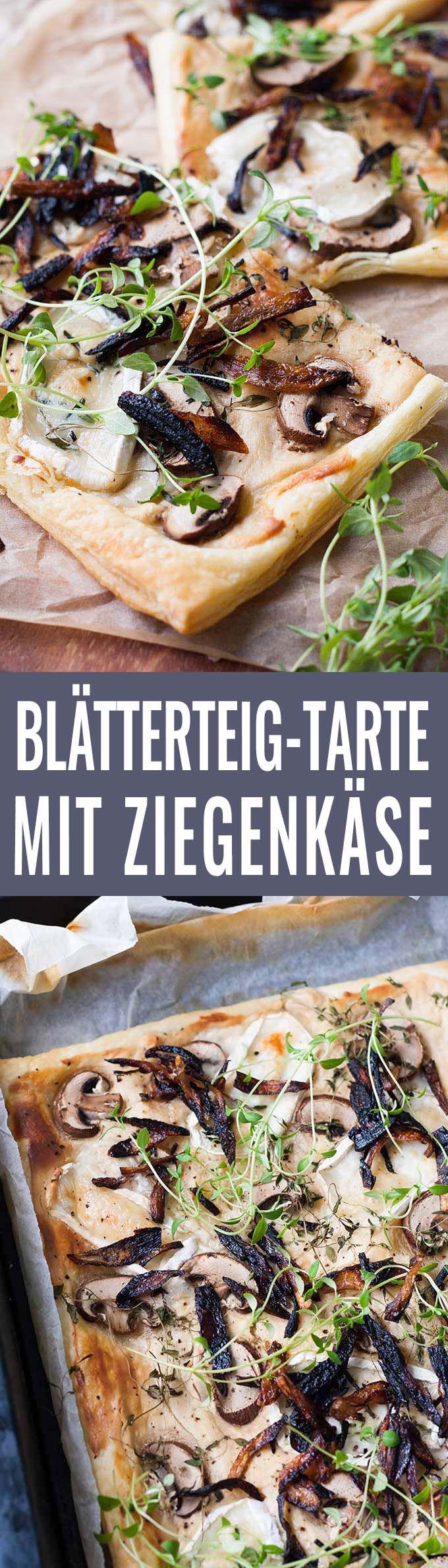 Blätterteig-Tarte mit Champignons und Ziegenkäse