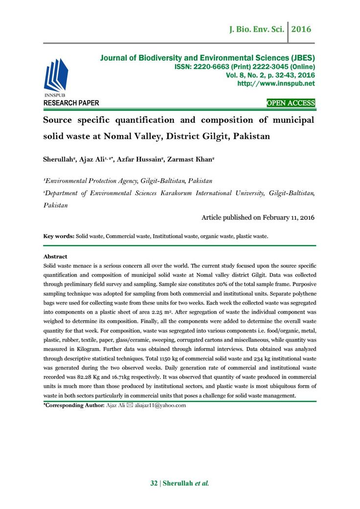 Source Specific Quantification and Composition of Municipal Solid Waste at Nomal Valley, District Gi