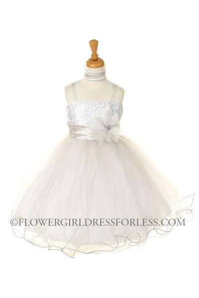 CC_106SV - Girls Dress Style 106- SILVER Sequin Bodice and Tulle Skirt Party Dress - Beaded Dresses - Flower Girl Dress For Less