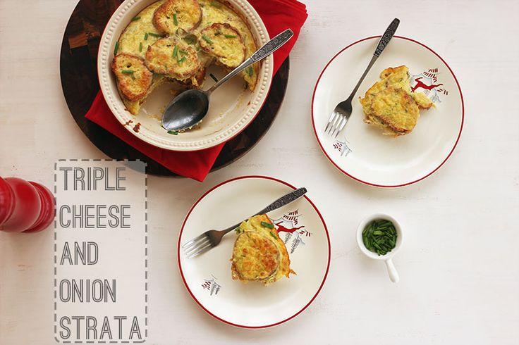 Triple Cheese and Onion Strata | The Sugar Hit
