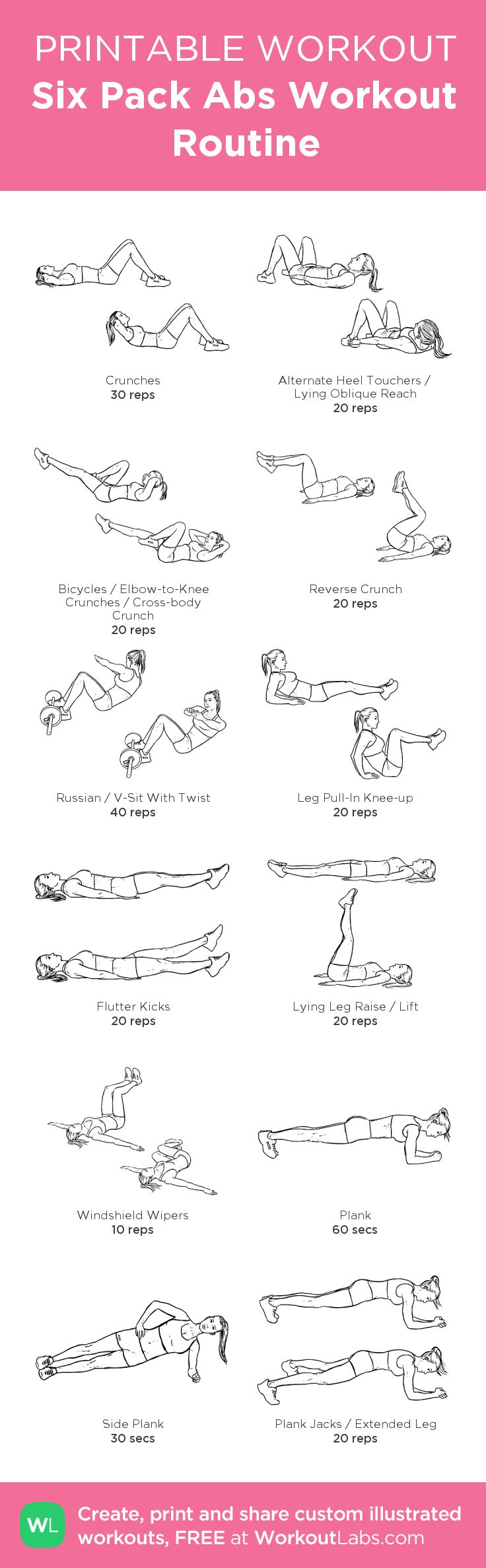 Six Pack Abs Workout Routine – my custom workout created at WorkoutLabs.com • Click through to download as printable PDF! #customworkout