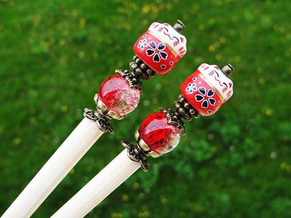 Set of 2 japanese wooden hair sticks with maneki neko, fortune lucky cat and red white beads - kanzashi, chopsticks, pins, hair ornaments