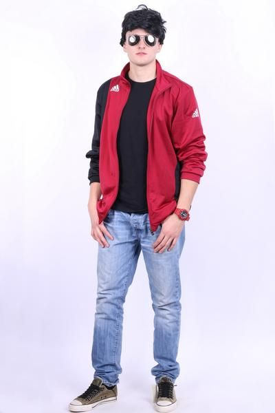 Perfect Adidas Mens XL Sport Sweatshirt Maroon Pockets Tracksuit Top - RetrospectClothes