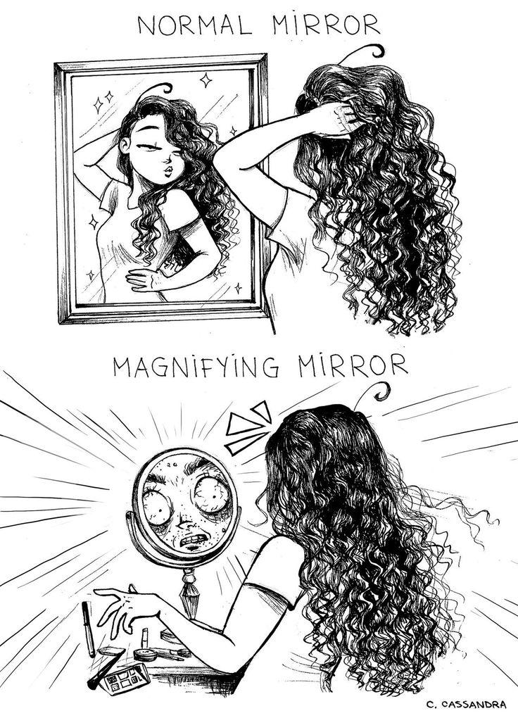 Normal Mirror / Magnifying Mirror Art by Cassandra: http://c-cassandra.tumblr.com/