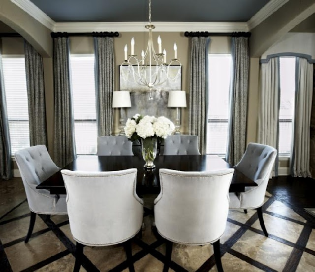 love the color palate, tufted chairs & oh my...those floors!!!
