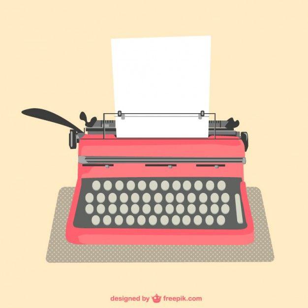 Máquina de escrever folhas de papel vetor Vetor grátis