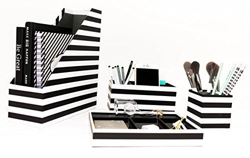 Blu Monaco Desk Organizer - Set of 4 - Divided Tray, Maga