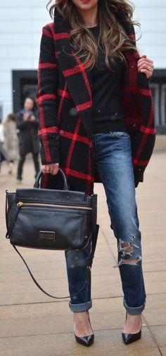 #fall #fashion / coat + ripped denim