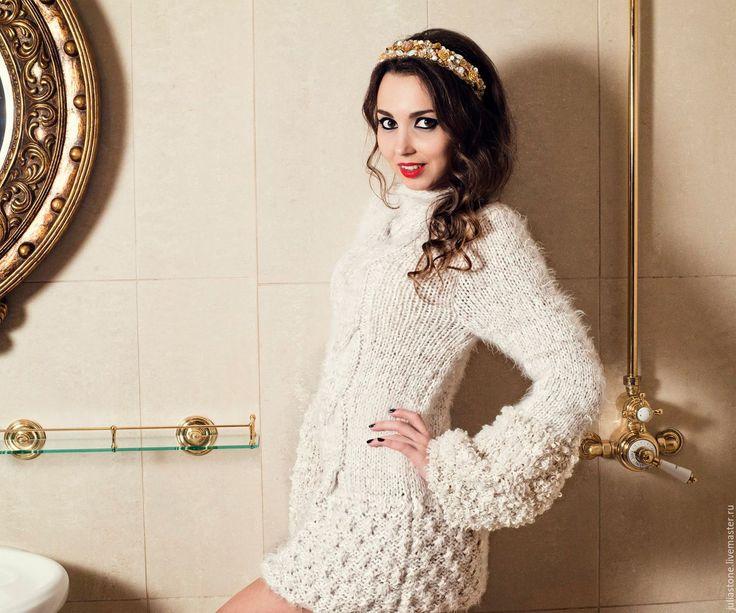 """Купить Пуловер """"""""Белый Лебедь"""""""" - белый, свитер, свитер женский, свитер спицами, свитер теплый"""