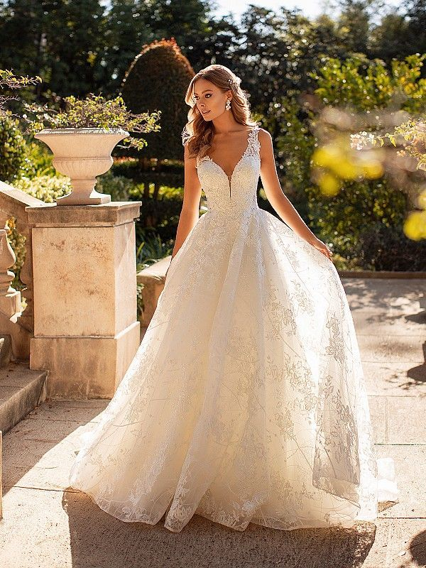 Oralee D8247 Embroidered Sparkly Lace Full A Line Bridal Gown In 2020 A Line Bridal Gowns Sparkle Wedding Dress Aline Wedding Dress