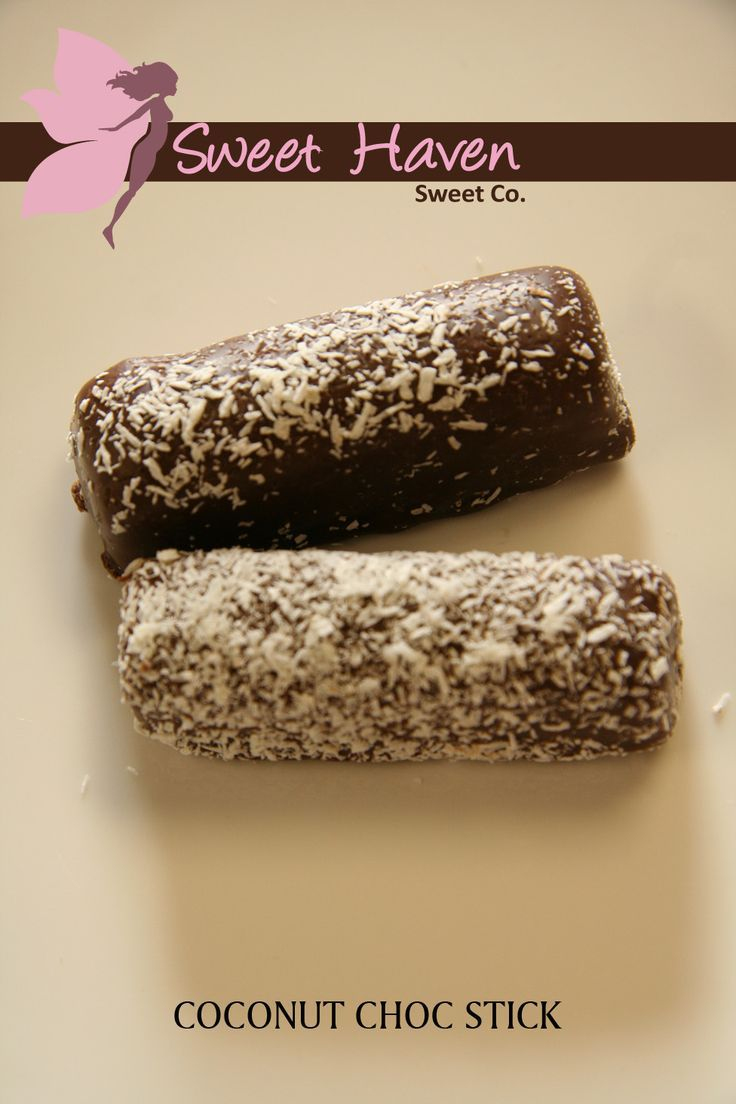 Individually pillow wrapped coconut nougat stick covered in imported milk chocolate and encrusted with desiccated coconut. #SweetHaven