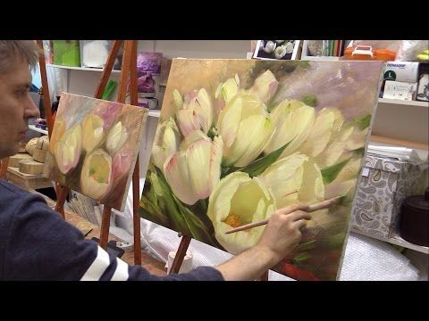 Янтарные подсолнухи. Amber sunflowers. Alla Prima. Process of creating oil painting from Oleg Buiko. - YouTube