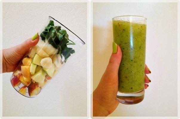 Zielone koktajle: jabłko + gruszka + pietruszka + brzoskwinie