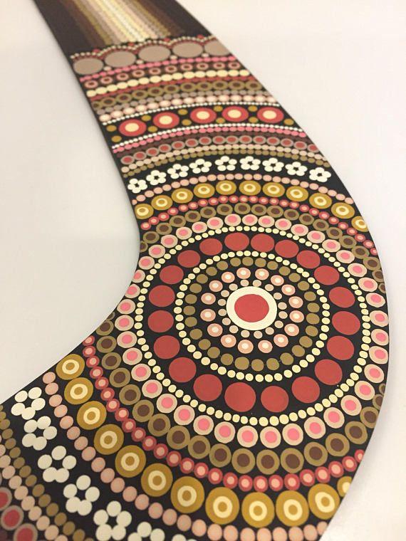 Handpainted 17-inch wingspan dot mandala boomerang dotilism