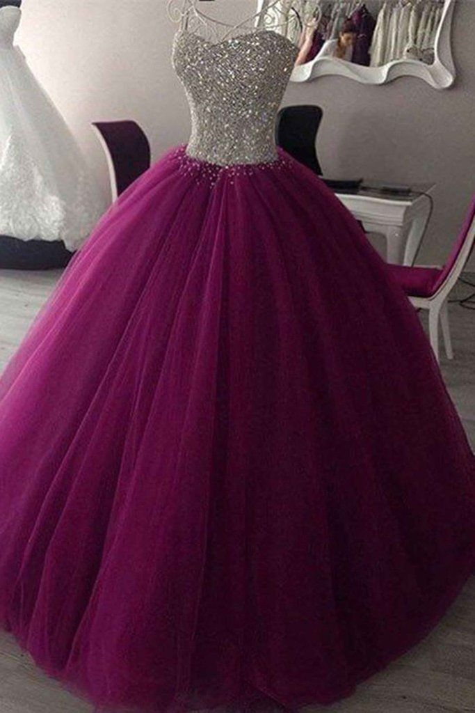 Rosy purple tulle sequins sweetheart ball gown dresses,graduation dresses