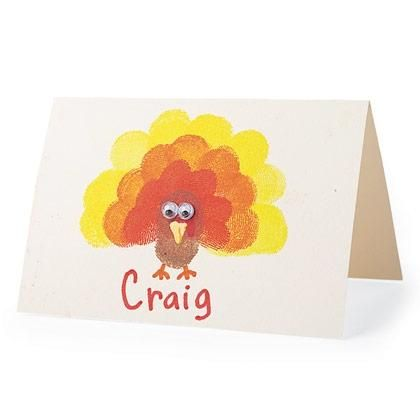 Fun Thanksgiving place card craft for kids. Use Avery 5302 tent cards. No cutting or folding needed.