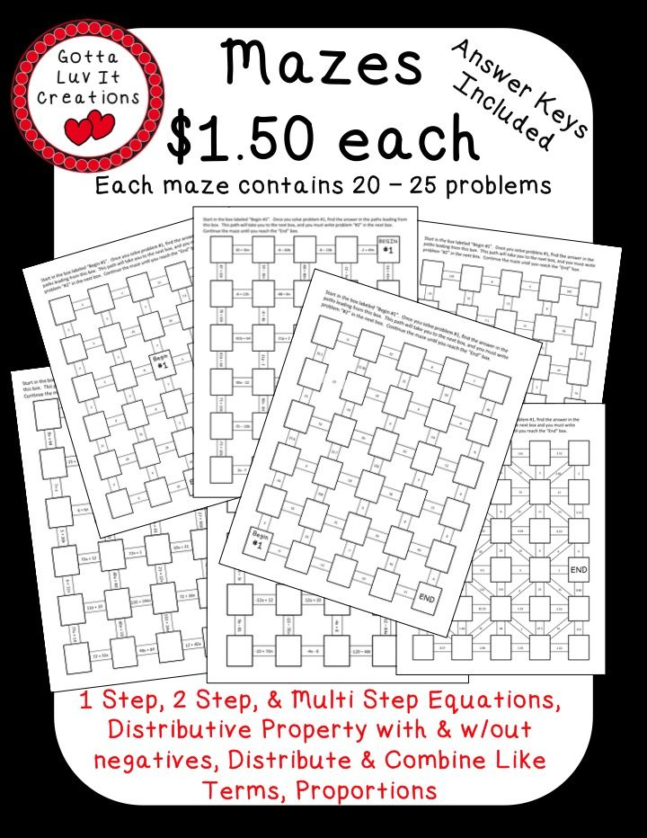 Printables Multi Operational Mathematical Maze 1000 images about grade 6 algebra on pinterest activities maze math mazes no prep ready to print order of operations one step equations two multi distrib