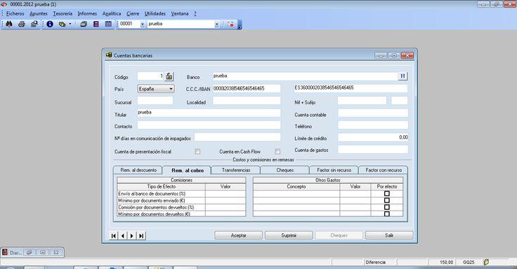 Cuentas bancarias del programa ERP Gextor Financiero (contabilidad).