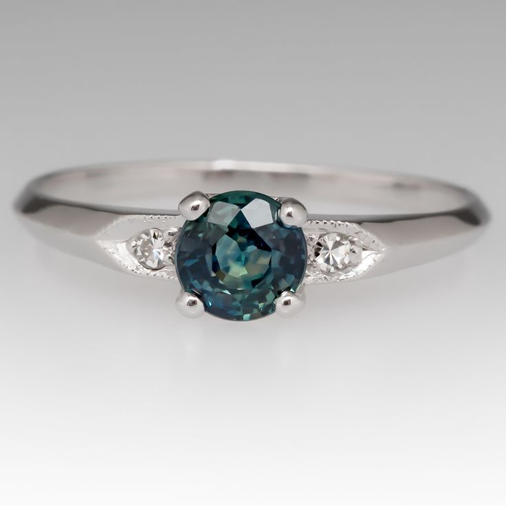 Vintage Blue Green Montana Sapphire Engagement Ring Platinum