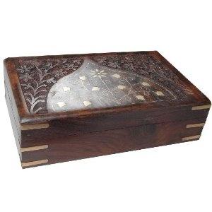 Boîte à bijoux en bois et laiton gravée à la main en Inde: ShalinCraft: Amazon.fr: Bijoux