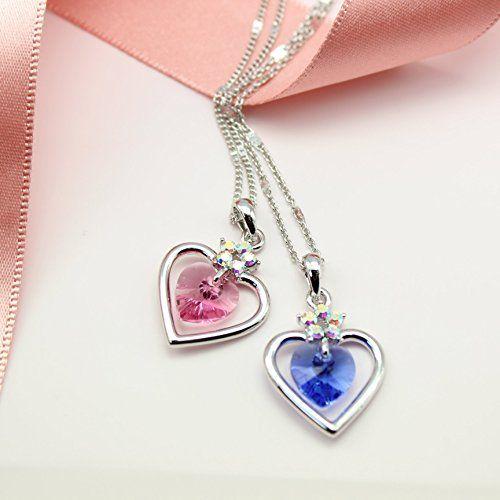 Amazon.com: Swarovski heart necklace, swarovski necklace silver, valentines day gift, birthday necklace gift, best friend necklace, pink heart necklace: Handmade