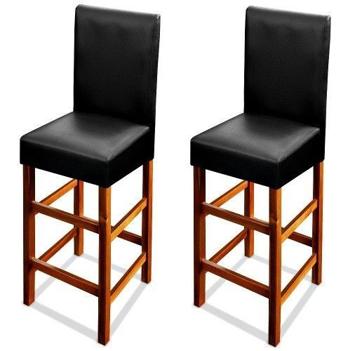 Kitchen High Back Breakfast Barstools 2Pc Black Seat Wooden Legs Dining Chairs  #SmartDealsMarket #Modern