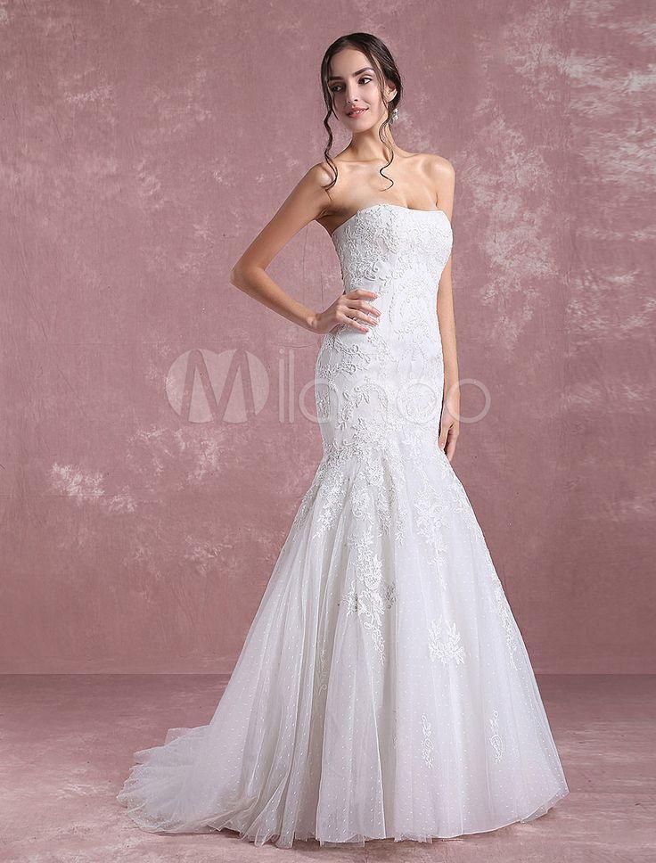 Vestido de noiva sereia em forma de trombeta/sereia Lace up sem fitas sem alças sem mangas