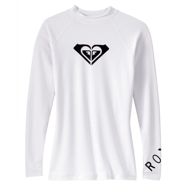 Roxy Long-Sleeve Logo Rashguard Women's Swimsuit ($35) ❤ liked on Polyvore featuring swimwear, tops, rash guard swimsuit, roxy bathing suits, roxy swimwear, rashguard swimsuit and rash guard bathing suits