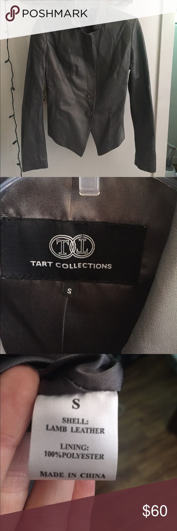 Lamb leather Tart Collections jacket Brand new lamb leather jacket. It has sat in my closet for a couple years because it is beautiful, but it doesn't fit my style, so I never wore it. I want to find it a good home. Tart collections is the brand. Tart Jackets & Coats Blazers