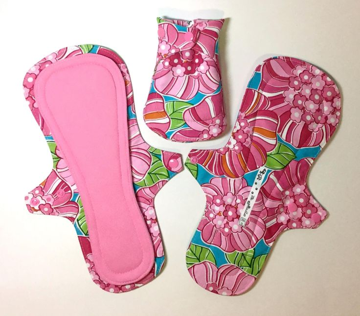 12 Inch Long Overnight / Leak Resistant Reusable Menstrual Pad in Pink Hawaiian Floral - Long Incontinence Pad, Washable Cloth Pads by AHippieAdventure on Etsy