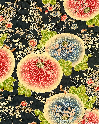 Japanese fabric. Chrysanthemum Splendor - Black.  Cherry, Scarlet, Chambray, Sapphire, Bamboo, Willow, Taupe, Cobalt, Wheat, Black  A symbol of the sun, the Japanese consider the orderly unfolding of the chrysanthemum's petals to represent perfection. by Itaya Naomi for Yuwa Fabric.