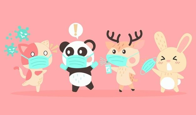 Set Of Cute Animals Wearing Medical Masks Cute Animals Animal Masks Animals