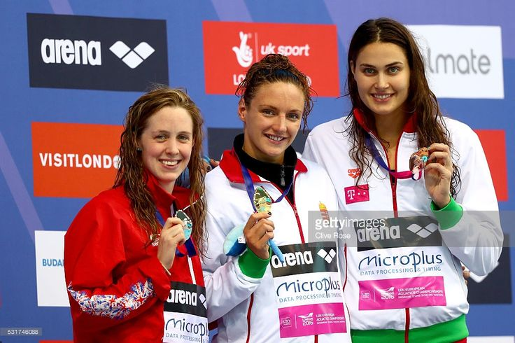 Hannah Miley of Great Britain, Katinka Hosszu of Hungary and Zsuzsanna Jakabos of Hungary pose with their medals after the Women's 400 Individual medley Final on day eight of the 33rd LEN European Swimming Championships 2016 at the London Aquatics Centre on May 16, 2016 in London, England.
