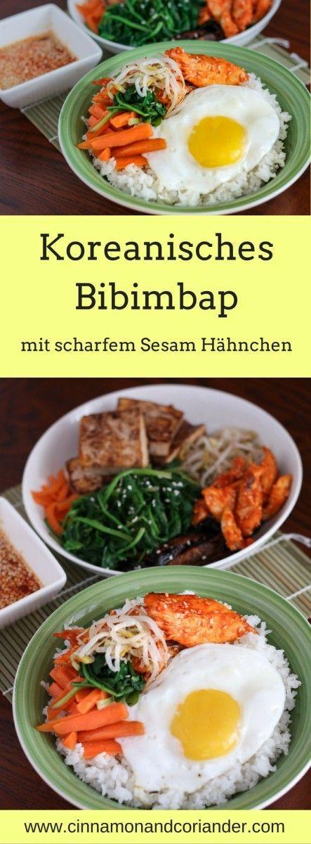 Koreanisches Bibimbap – Reis Bowl mit Hähnchen