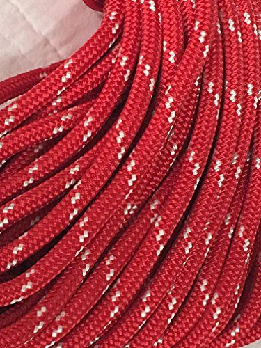 """3/8"""" Double Braid/Yacht Braid Premium Polyester Halyard Rigging Line, Red with white tracers  Premium Double Braided/Yacht Braid Polyester  Easy to splice  About 3,600 pounds tensile strength  Made in the USA  Resistant to fading, stretching, rot and mildew"""