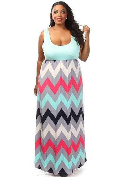 Plus Size Chevron Print Maxi Dress