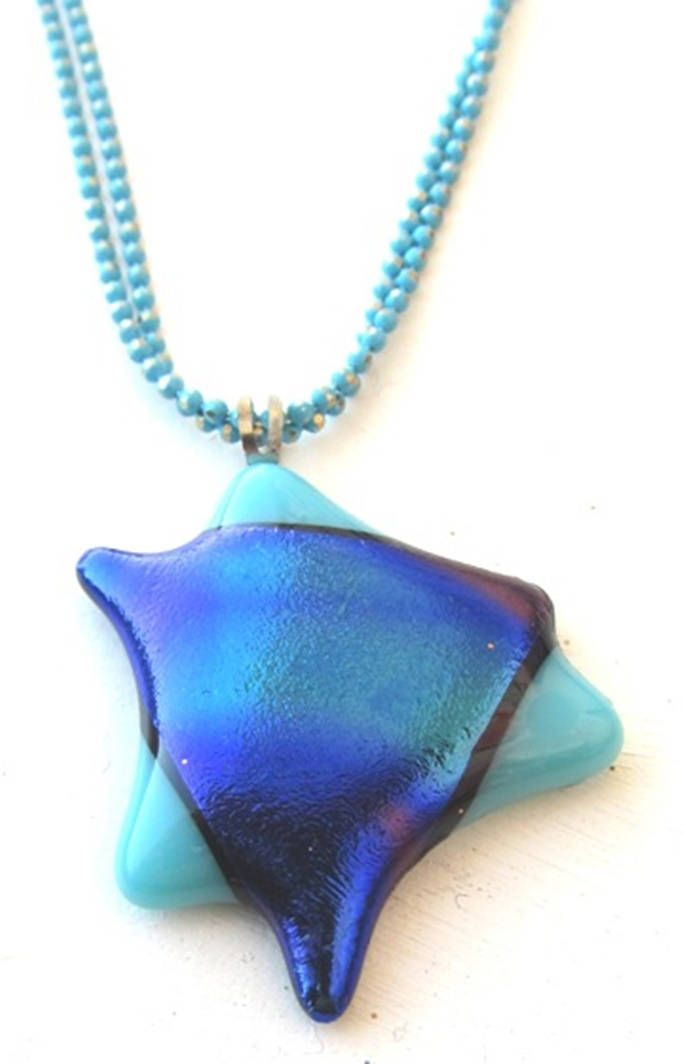 Blue jewelry, Blue star of David, Star of David pendant, Fused glass pendant, Star of David, Magen David, Blue necklace, Fused glass by YaelArtinGlass on Etsy